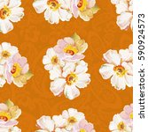 seamless pattern with white... | Shutterstock .eps vector #590924573