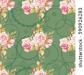 seamless floral pattern with... | Shutterstock .eps vector #590926283