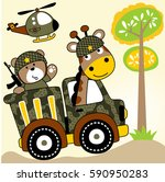 two soldiers giraffe and bear... | Shutterstock .eps vector #590950283