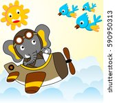 elephant flying with plane in... | Shutterstock .eps vector #590950313