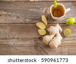 ginger tea with lime in a white