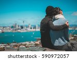 people on mount victoria look... | Shutterstock . vector #590972057