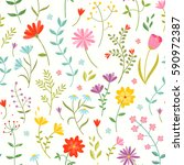 cute seamless floral print with ... | Shutterstock .eps vector #590972387
