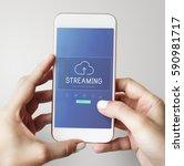 cloud network data backup... | Shutterstock . vector #590981717