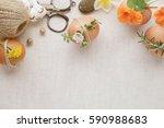 hipster eco craft easter eggs... | Shutterstock . vector #590988683