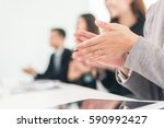 Small photo of asian business group applaud in the office