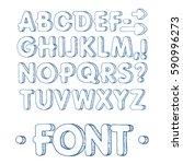 graphic font. handmade sans... | Shutterstock .eps vector #590996273