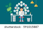 web social network concept for... | Shutterstock .eps vector #591015887