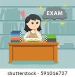 female student worrying about... | Shutterstock .eps vector #591016727
