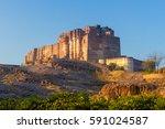 mehrangarh fort in jodhpur ... | Shutterstock . vector #591024587