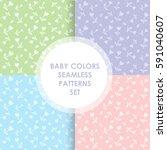 set of cute vector seamless... | Shutterstock .eps vector #591040607
