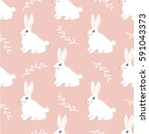 Stock vector seamless hare pattern cute little bunny on a pink background cute rabbit vector design for fabric 591043373