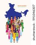 big crowd of indian women... | Shutterstock .eps vector #591046307