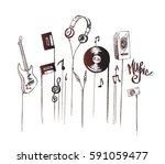 musical instruments  hand drawn ... | Shutterstock .eps vector #591059477