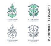 vector eco packaging logo  icon ... | Shutterstock .eps vector #591063947