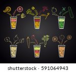 set of different juices in... | Shutterstock .eps vector #591064943