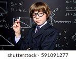 smart schoolboy in black suit...   Shutterstock . vector #591091277