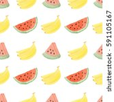 pattern made of bananas and... | Shutterstock . vector #591105167