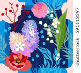 spring colors. silk scarf with... | Shutterstock .eps vector #591113297