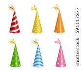 realistic birthday hats set... | Shutterstock .eps vector #591117377