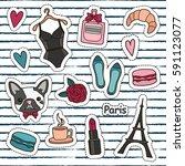 cute fashion patch badges set ... | Shutterstock .eps vector #591123077
