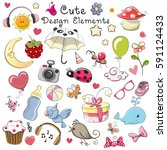 set of cute design elements on... | Shutterstock . vector #591124433