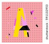 vector letter a memphis style... | Shutterstock .eps vector #591132953