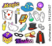 magician elements set with... | Shutterstock .eps vector #591135437