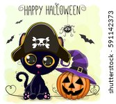 halloween illustration of... | Shutterstock . vector #591142373