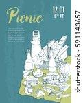 hand drawn picnic poster.... | Shutterstock .eps vector #591143657