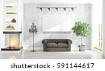 beautiful living room interior... | Shutterstock . vector #591144617