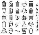garbage icons set. set of 25... | Shutterstock .eps vector #591145193
