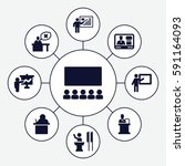 lecture icons set. set of 9...