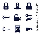 lock icons set. set of 9 lock... | Shutterstock .eps vector #591166847