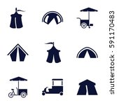 Tent Icons Set. Set Of 9 Tent...