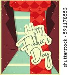 fathers day greeting card. flat ... | Shutterstock .eps vector #591178553