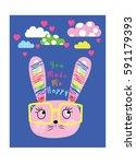 cute animal cartoon artwork | Shutterstock .eps vector #591179393