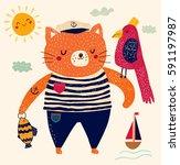 cute summer illustration.... | Shutterstock .eps vector #591197987