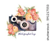 watercolor photographer logo.... | Shutterstock . vector #591217553