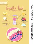 smoothie bowl recipe. healthy... | Shutterstock .eps vector #591220793