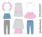 set of girl's clothing. vector | Shutterstock .eps vector #591225257