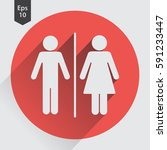 toilet flat icon. simple sign... | Shutterstock .eps vector #591233447
