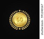gold wreath anniversary. happy... | Shutterstock .eps vector #591240167