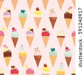 ice cream cone seamless pattern ... | Shutterstock .eps vector #591240917