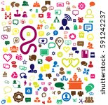 colorful social media icon... | Shutterstock .eps vector #591242237