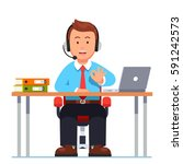 operator of call center office... | Shutterstock .eps vector #591242573