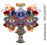 hand drawn lord shiva. eyes... | Shutterstock . vector #591242597