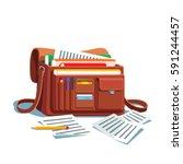 opened cross body bag or... | Shutterstock .eps vector #591244457