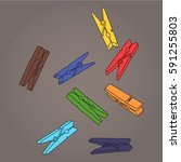clothespins | Shutterstock .eps vector #591255803