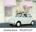 woman rush in a car with bunny... | Shutterstock . vector #591257147